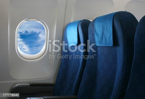 istock airplane seat and window 177779040
