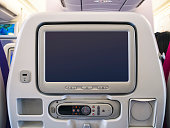Airplane seats Blank mock up screen monitor Passenger  on board
