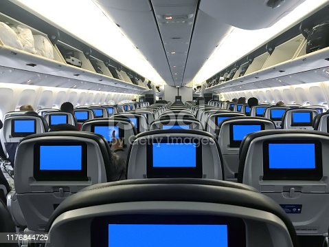 Wide angle shot of an airplane cabin