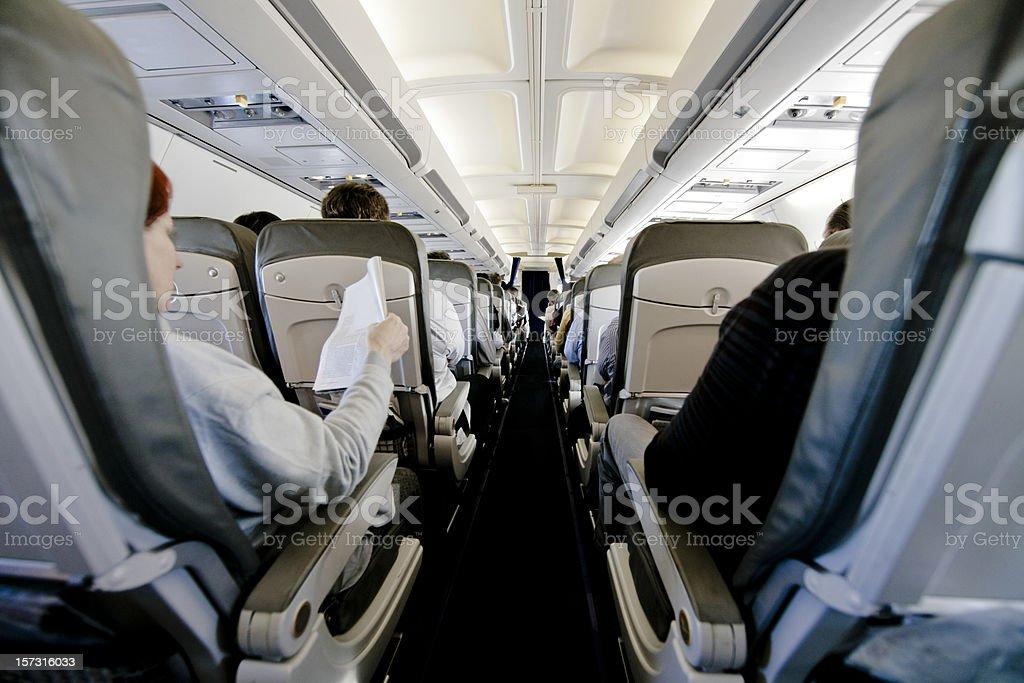 Airplane Seats, Plane Interior during Flight royalty-free stock photo