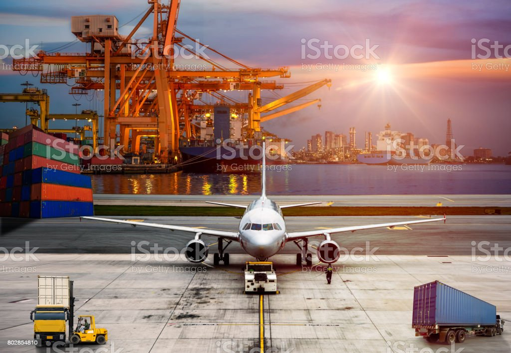Airplane shipping delivery transfer with Logistics and transportation of Container Cargo ship and Cargo plane stock photo