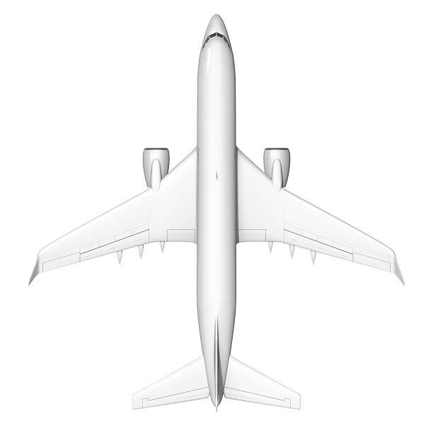 Flugzeug Aufnahme von oben, isoliert auf weißem Hintergrund – Foto