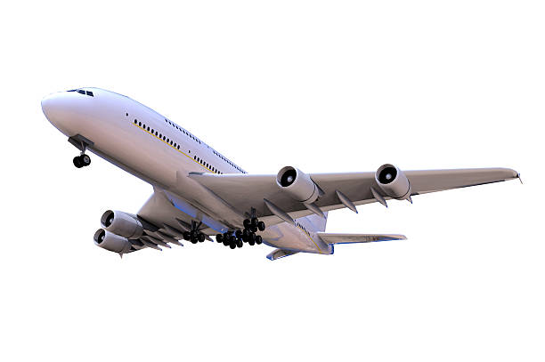 Airplane side View and isolated Moving Up stock photo