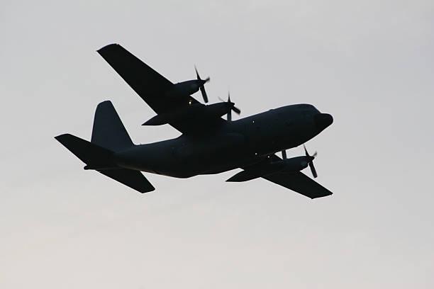 C-130 Airplane Silhouette stock photo