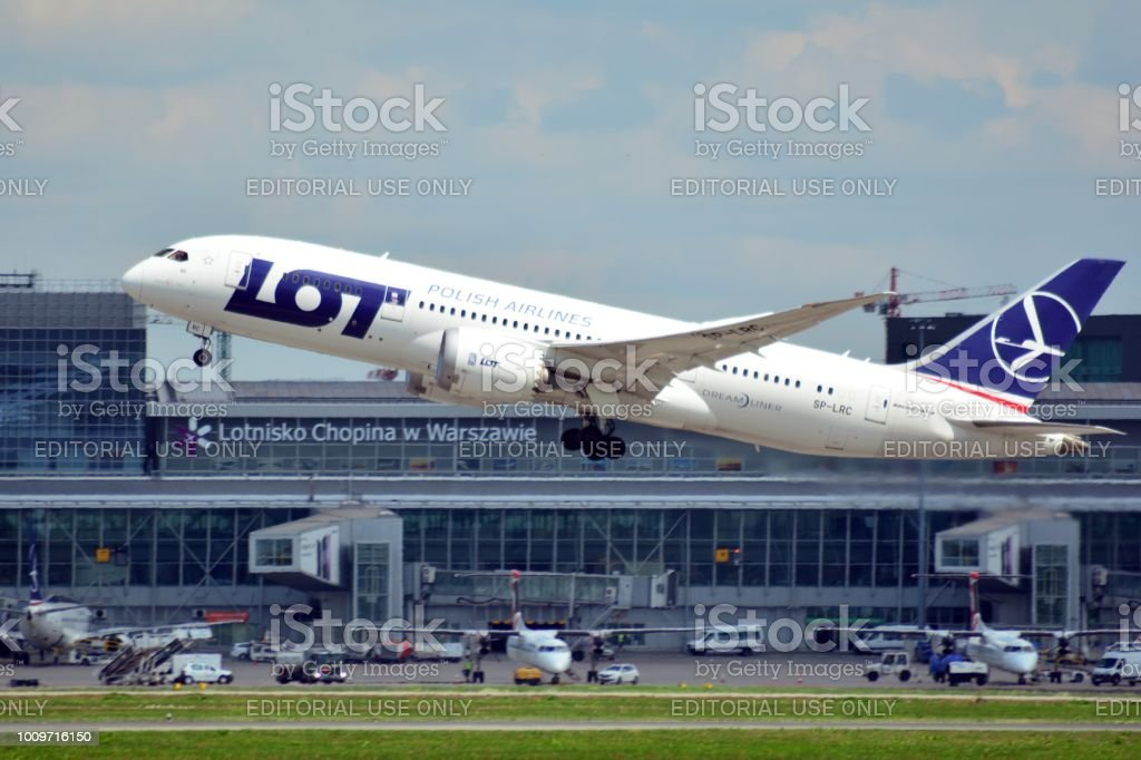 Airplane SP-LRC LOT - Polish Airlines Boeing 787-8 Dreamliner taking off from the Warsaw Chopin Airport. stock photo