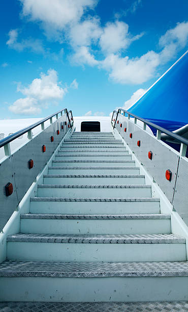 Airplane staircase stock photo