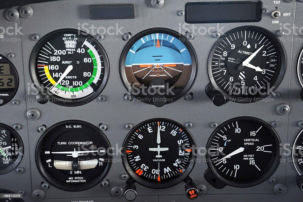 Airplane Standard Flight Instruments royalty-free stock photo