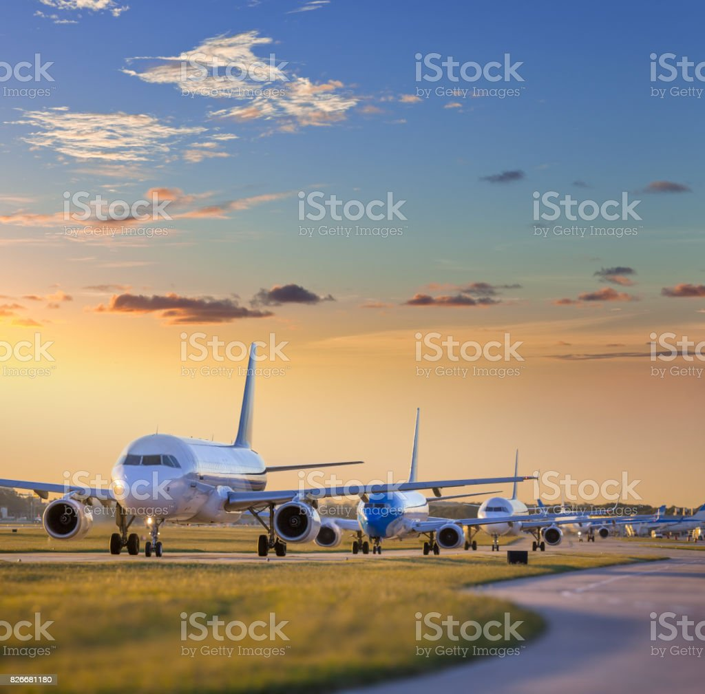 Airplane standing on airfield waiting for take off at the airport of Buenos Aires Argentina stock photo