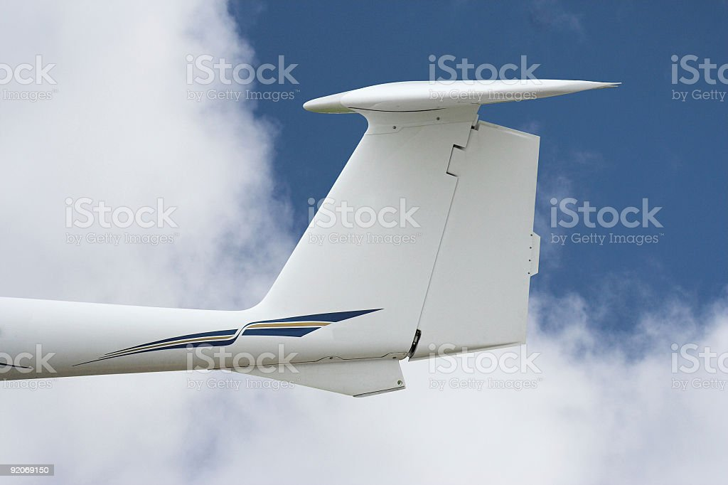 Airplane Tail in flight (with path) stock photo