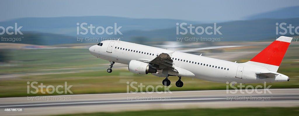 airplane take off stock photo