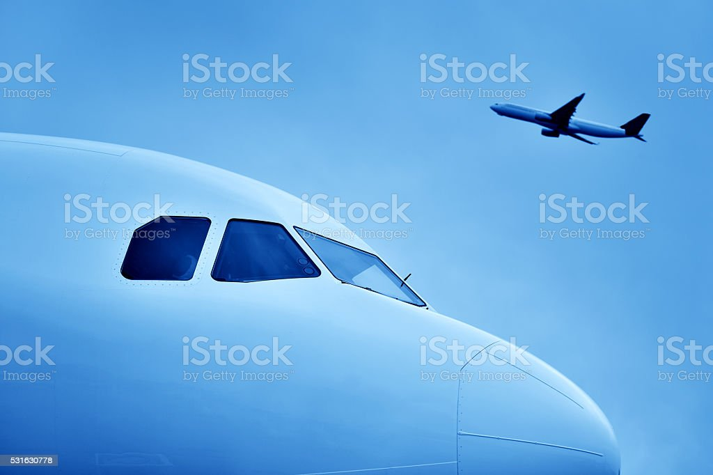 Airplane Take Off stock photo