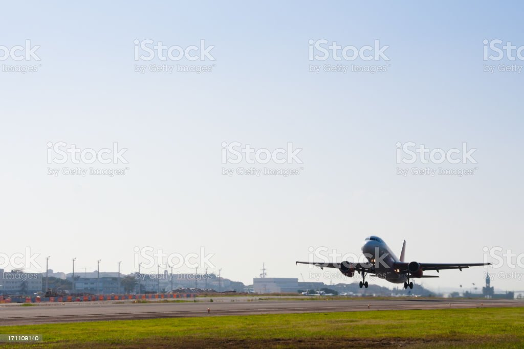 Airplane takeoff at Rio de Janeiro royalty-free stock photo
