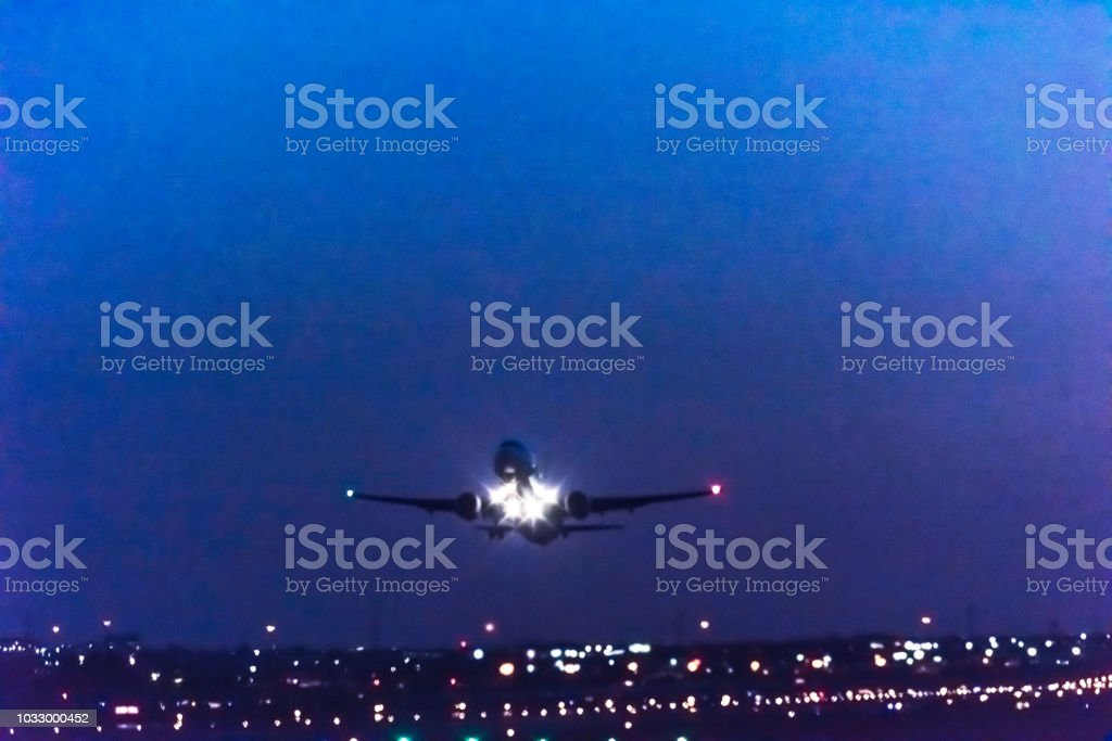 Airplane take-off Pearson International airport stock photo