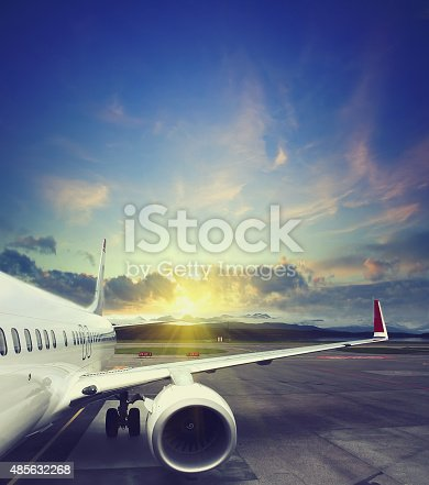 istock airplane taking off from the airport 485632268