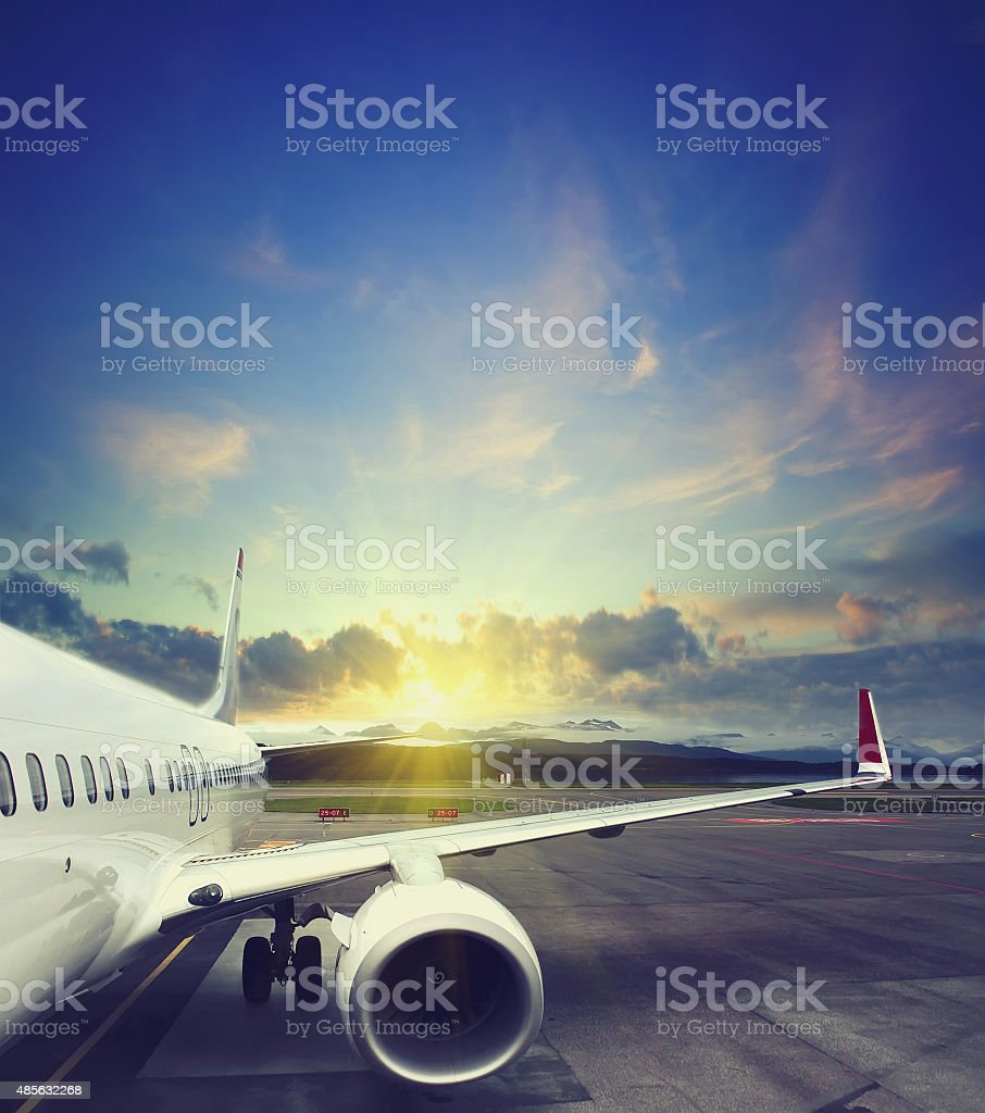 airplane taking off from the airport stock photo