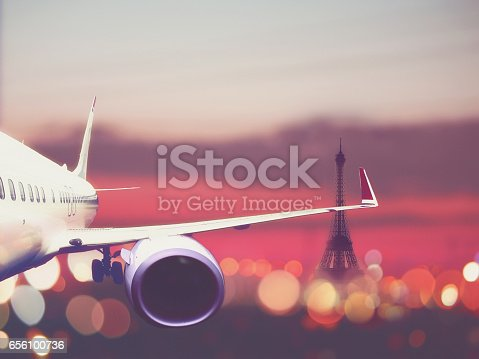 istock airplane taking off from the Paris airport 656100736