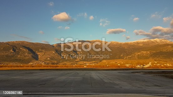 airplane taking off in the airport of Ioannina Greece