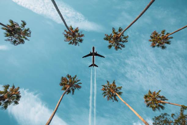 Airplane taking off stock photo