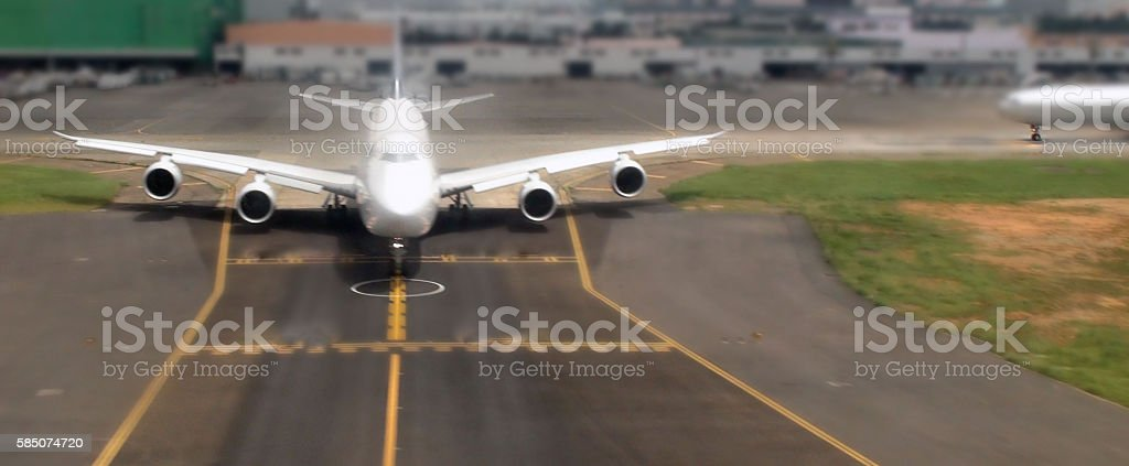 Airplane Taxiing To Take Off From Taoyuan International Airport Taipei stock photo