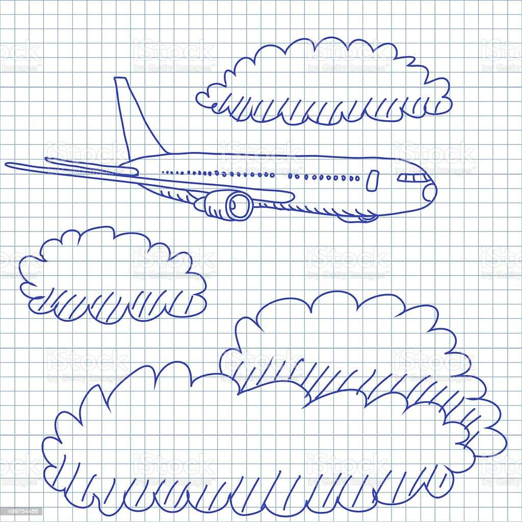 Airplane through the clouds doodles drawing stock photo