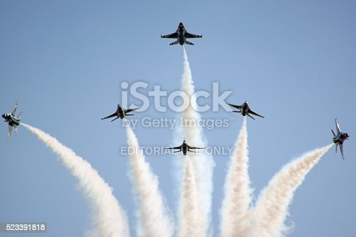 istock Airplane Thunderbirds F-16 Formation break 523391818