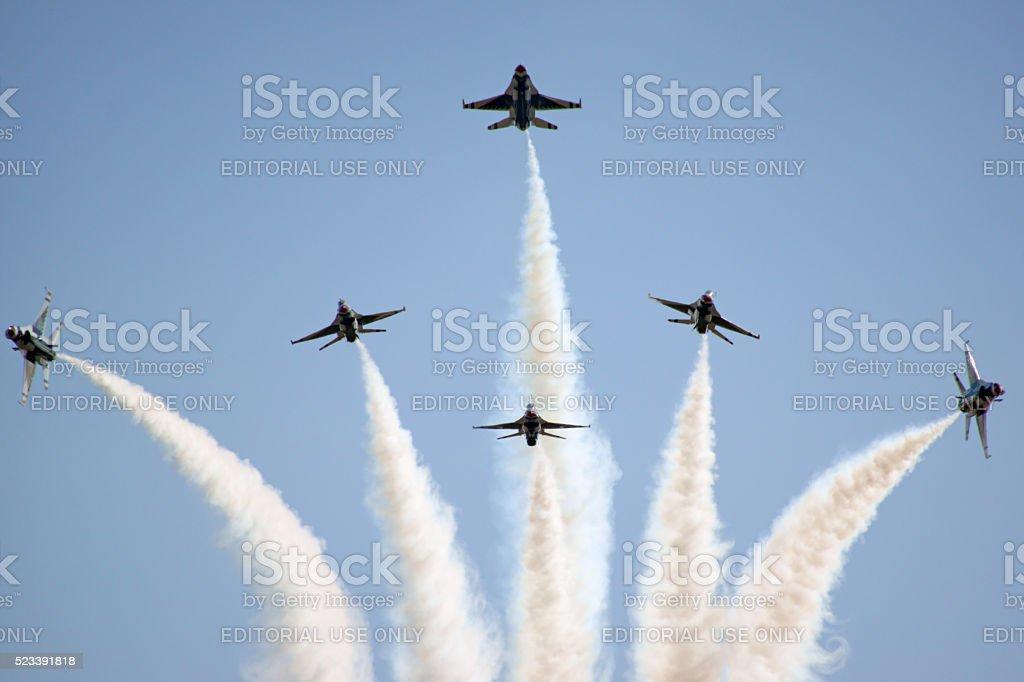 Airplane Thunderbirds F-16 Formation break stock photo