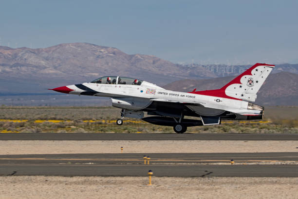 Airplane Thunderbirds F16 Jet Fighter Takeoff During Air Show Stock