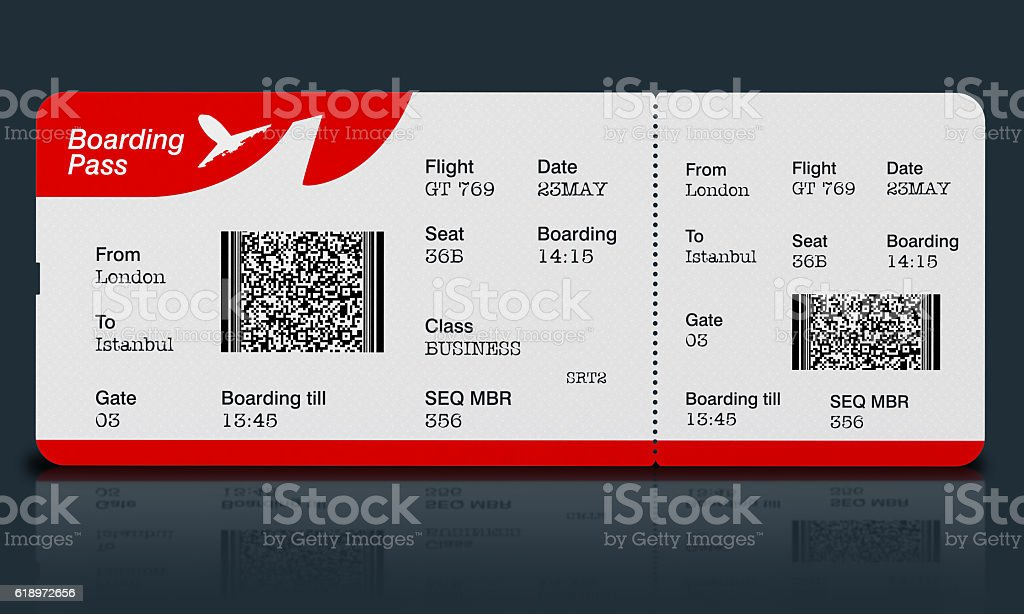 Airplane ticket (boarding pass) on black surface stock photo
