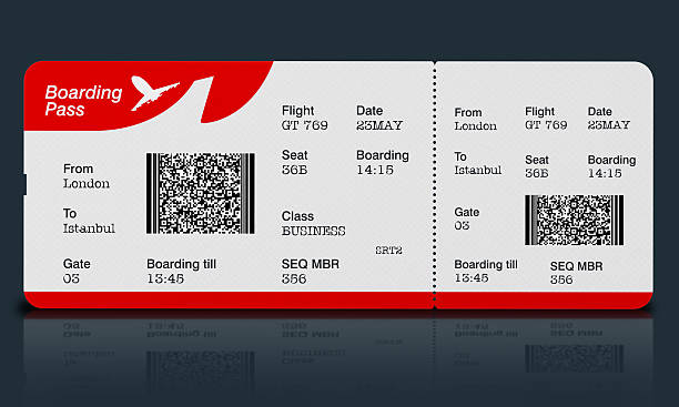 airplane ticket (boarding pass) on black surface - aeroplane ticket stock photos and pictures