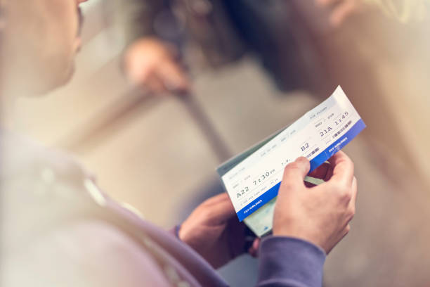 airplane ticket - aeroplane ticket stock photos and pictures
