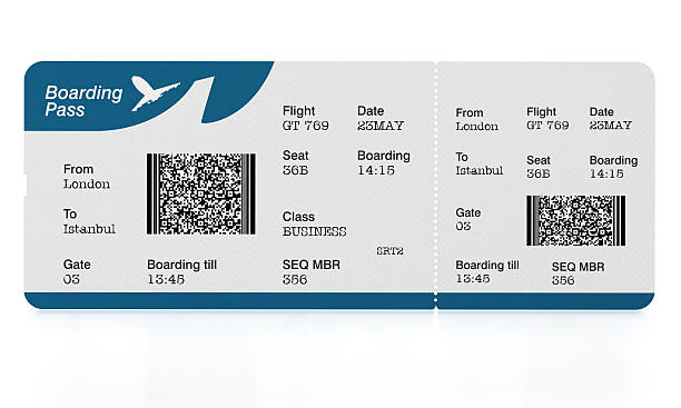 airplane tickets (boarding passes) on white surface - aeroplane ticket stock photos and pictures