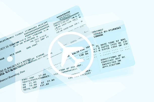 airplane tickets - aeroplane ticket stock photos and pictures