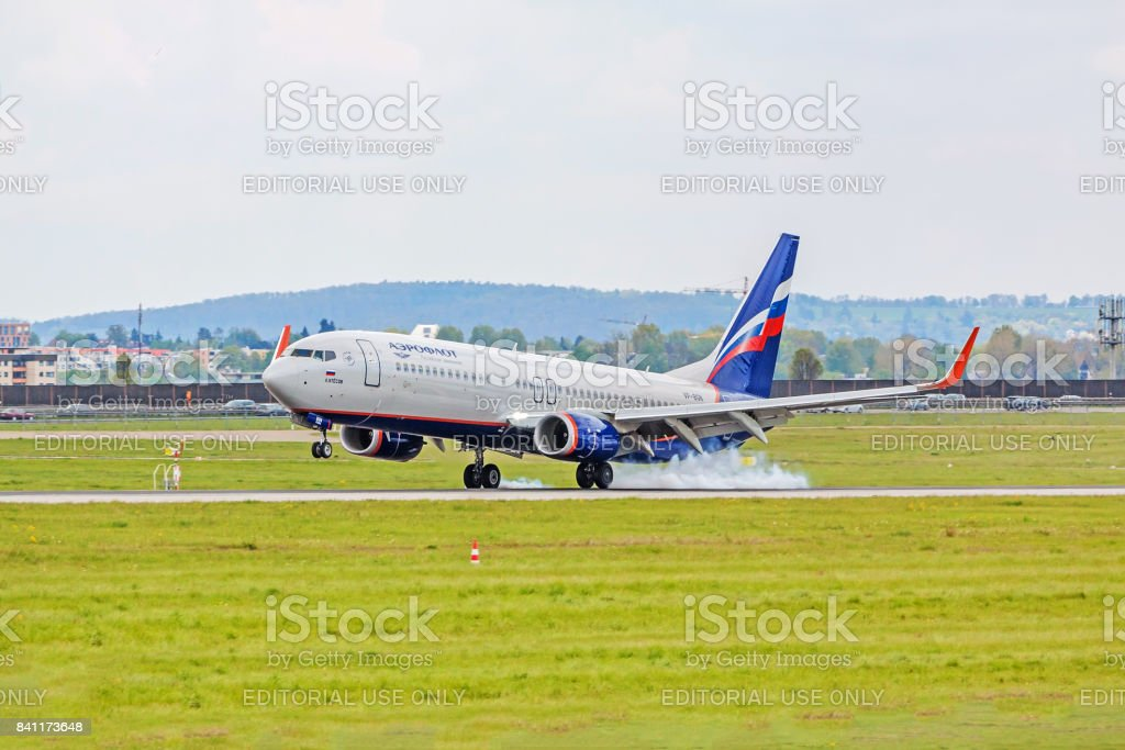 Airplane touchdown: Aeroflott Boeing 737 landing, airport Stuttgart, Germany stock photo
