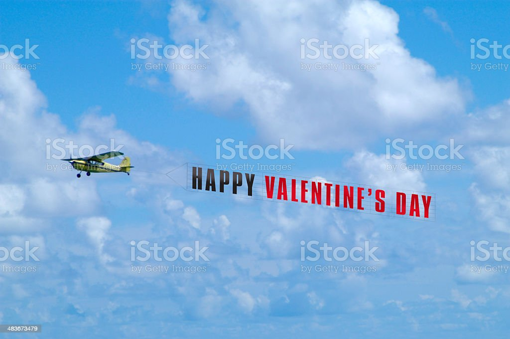Airplane Towing Valentine's Day Banner stock photo