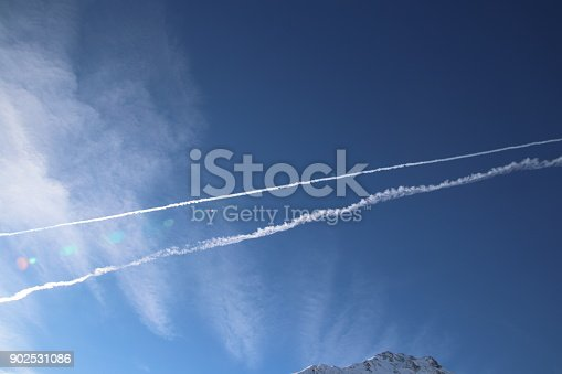 589538650 istock photo Airplane trace, Vapor Trail, in the blue sky 902531086