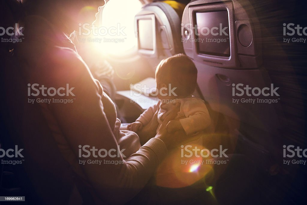 Airplane Travel With Infant stock photo