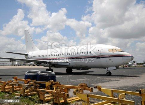 Old airplane undegoing maintenance and refurbushment