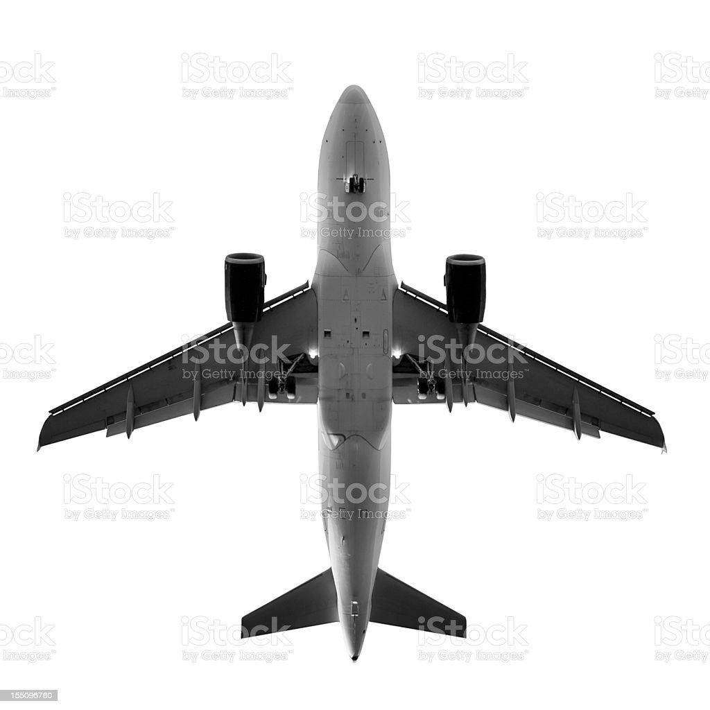 Airplane, view from directly below - isolated on white stock photo