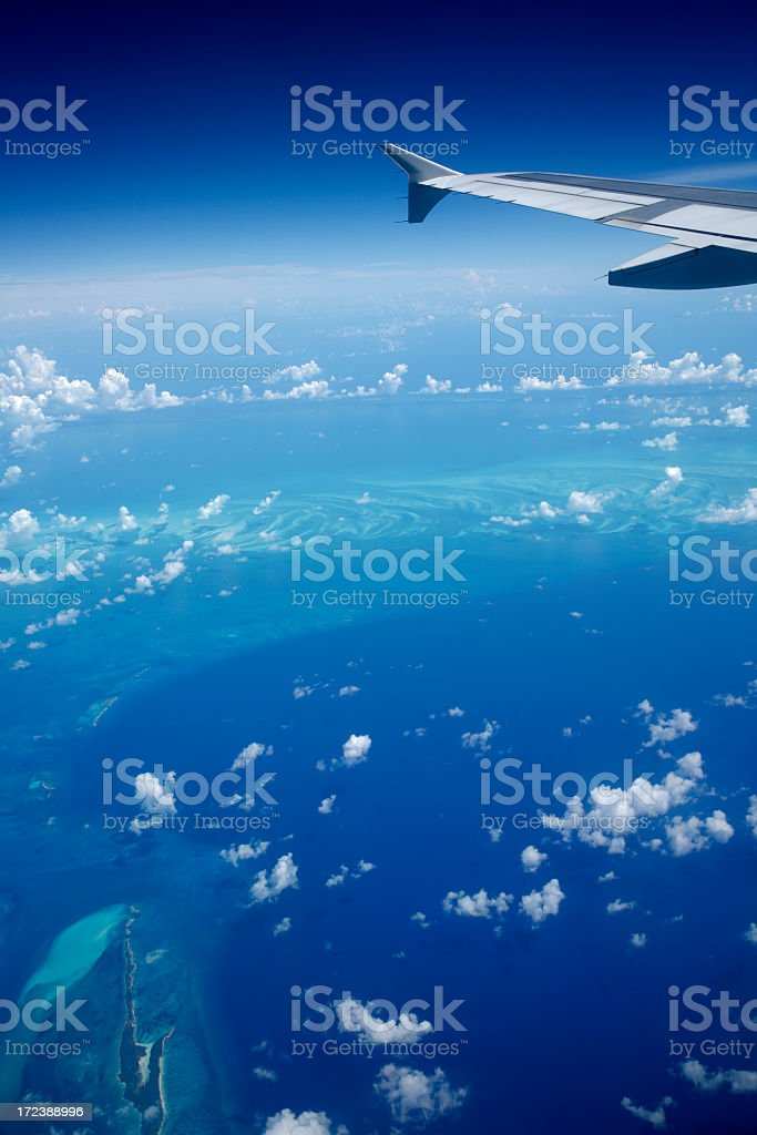 airplane view of the Caribbean royalty-free stock photo