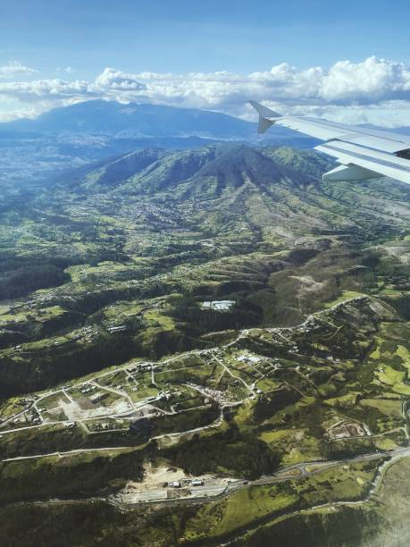 Airplane view on the Ands in Ecuador, Quito stock photo