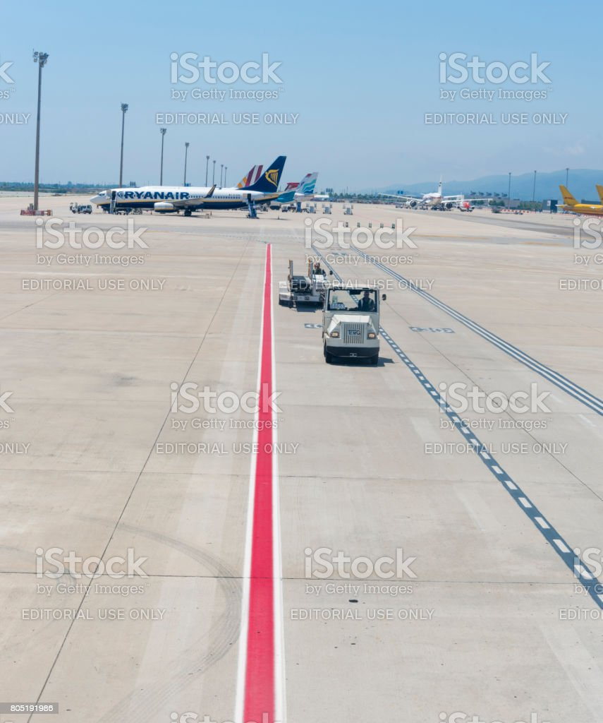 Airplane waiting for boarding stock photo