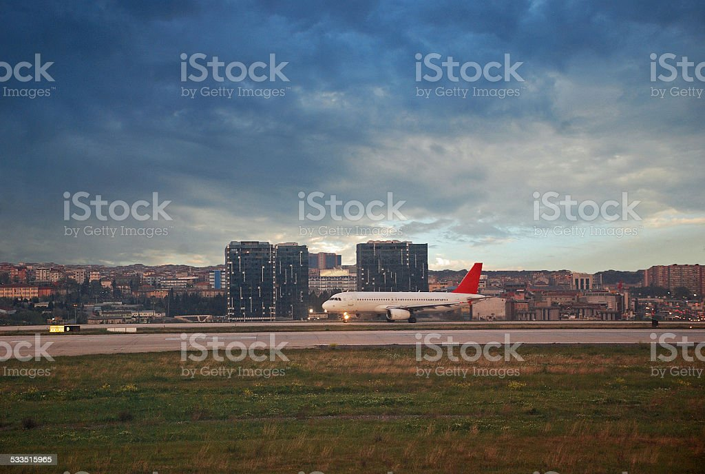 Airplane Waiting to Take Off stock photo