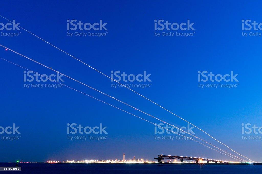 Airplane wake trying to land at Haneda Airport stock photo