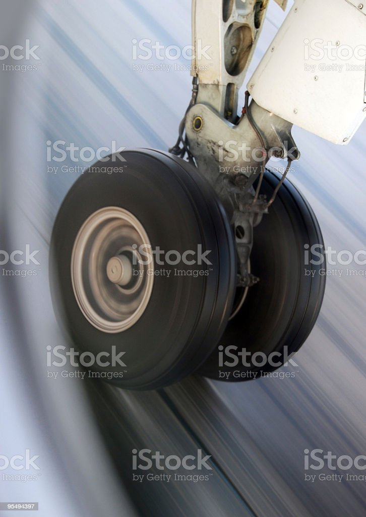 Airplane Wheel Landing royalty-free stock photo