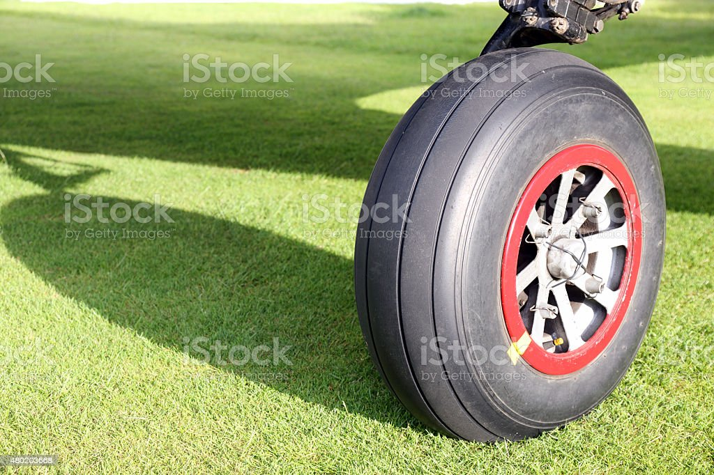 Airplane wheel stock photo