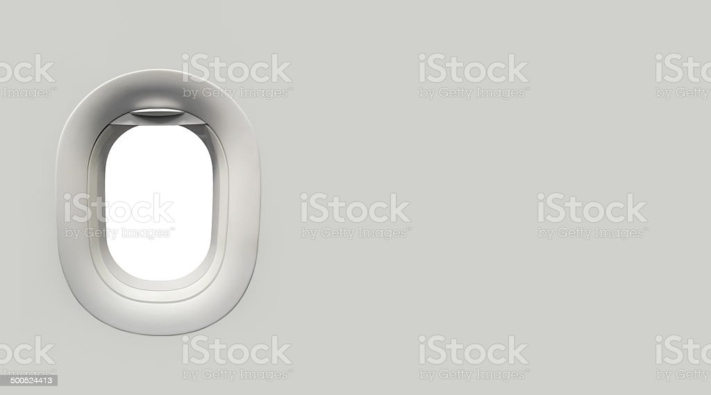 Airplane window and place for text stock photo