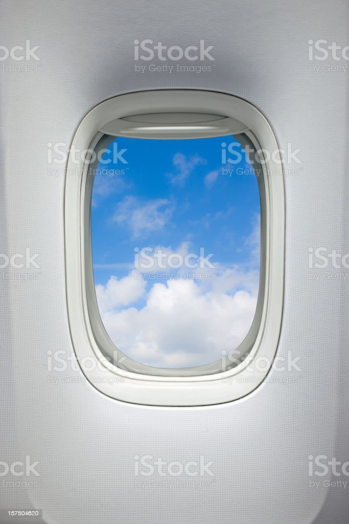 Airplane window (Clipping Path) stock photo