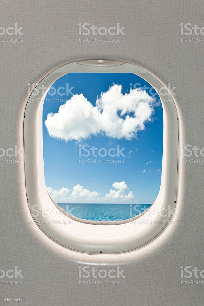 Airplane window stock photo