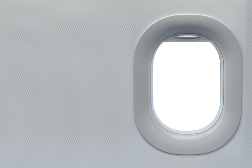 Airplane window. Travel and tourism fliight concept. Space for text.