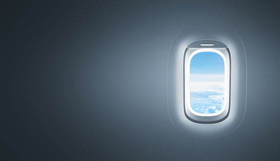 Airplane window with copy space